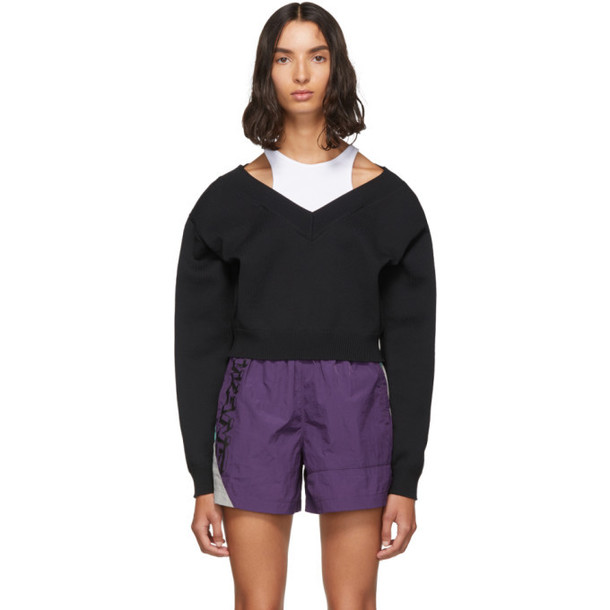 alexanderwang.t Black Cropped Bi-Layer V-Neck Sweater