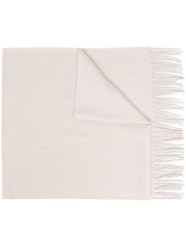 N.Peal fringe trim scarf in neutrals