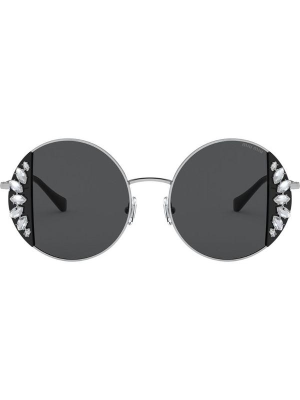 Miu Miu Eyewear Noir round frame sunglasses in silver