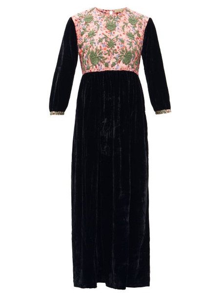 Muzungu Sisters - Touba Hand-embroidered Silk-blend Velvet Dress - Womens - Black Green