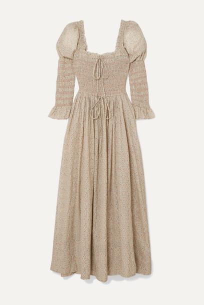 DÔEN - Bijou Shirred Floral-print Cotton-blend Voile Midi Dress - Beige