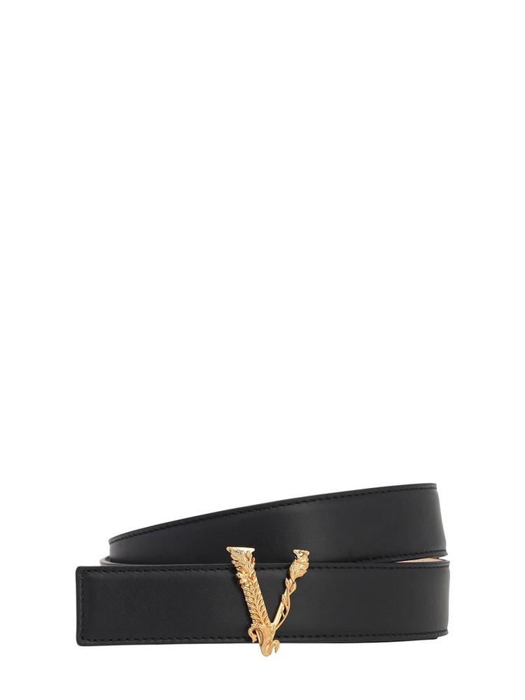 VERSACE 3cm Virtus Smooth Leather Belt in black