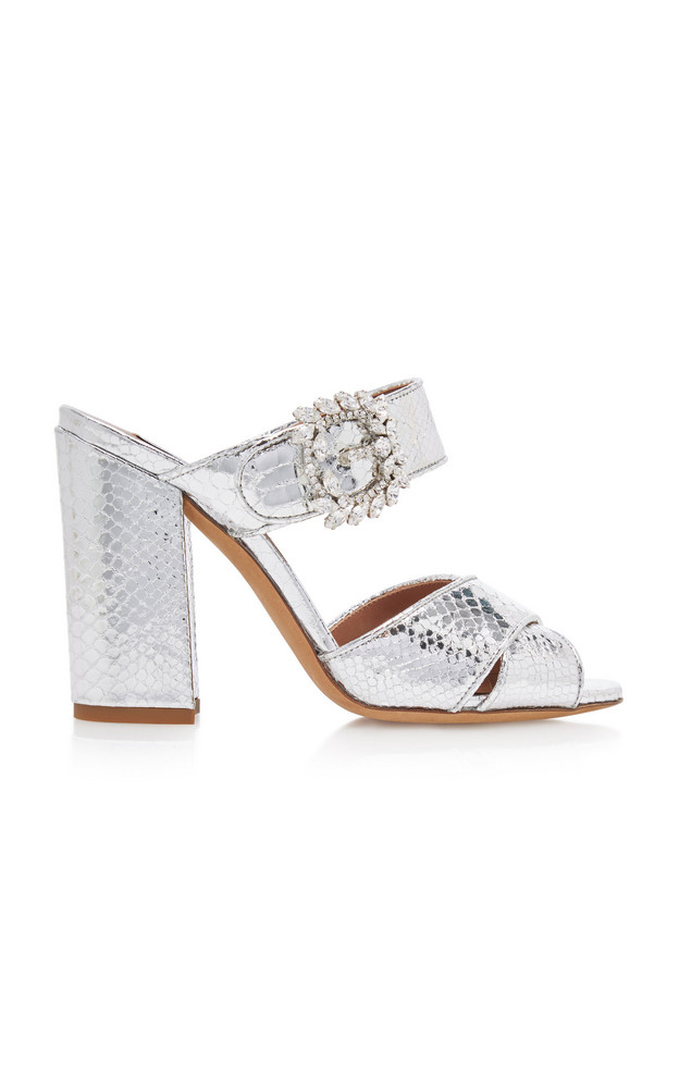 Tabitha Simmons Reyner Crystal-Embellished Metallic Leather Sandals in silver
