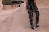 pants,stripes,striped pants,long pants,flare jeans,flowy,loose,cute,bottoms,fashion