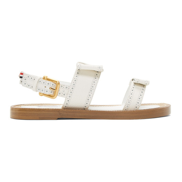 Thom Browne White Brogued Bow Two-Strap Sandals