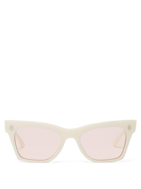 Celine Eyewear - Rectangular Cat Eye Acetate Sunglasses - Womens - Ivory Multi
