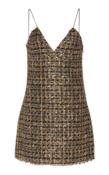 Balmain Thin Strap Metallic Tweed Mini Dress Size: 38 in black