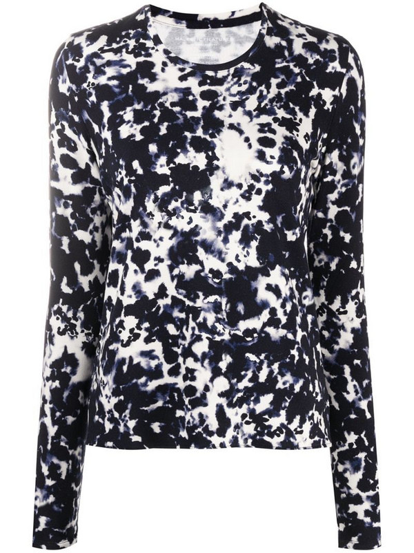 Majestic Filatures abstract print longsleeved top in blue