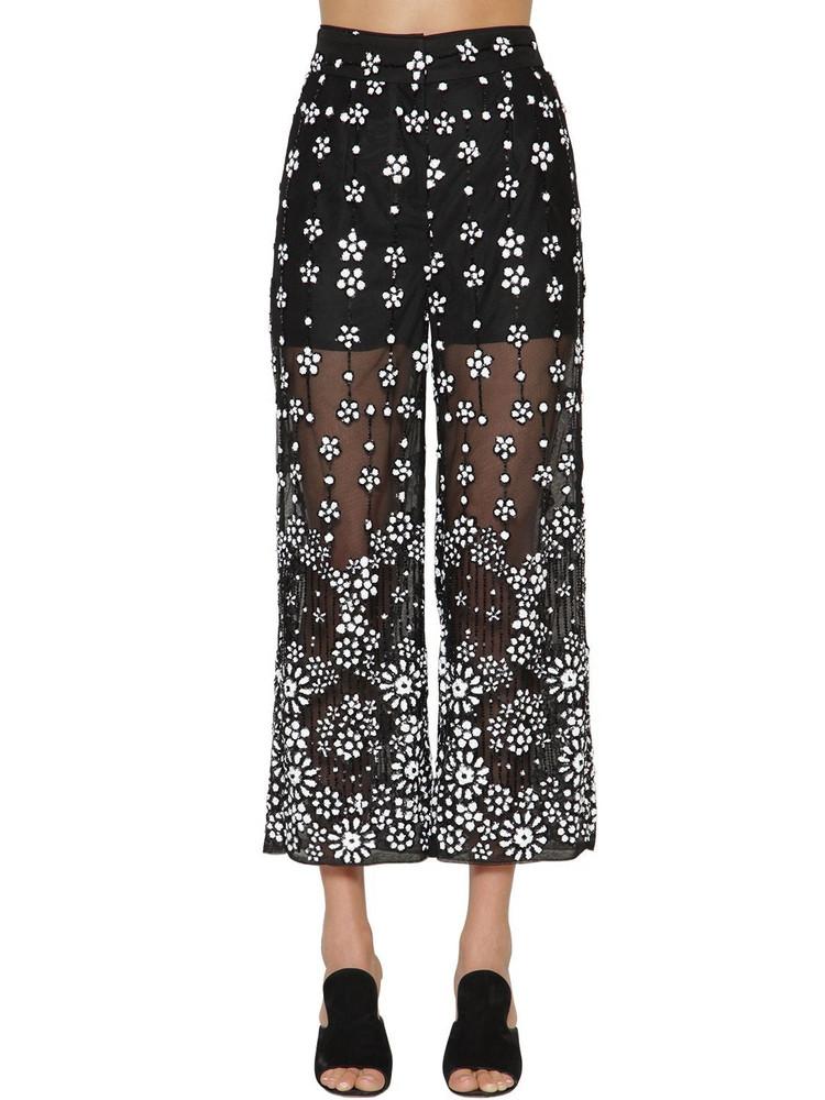 SELF-PORTRAIT Floral Sequin Embellished Wide Pants in black / white
