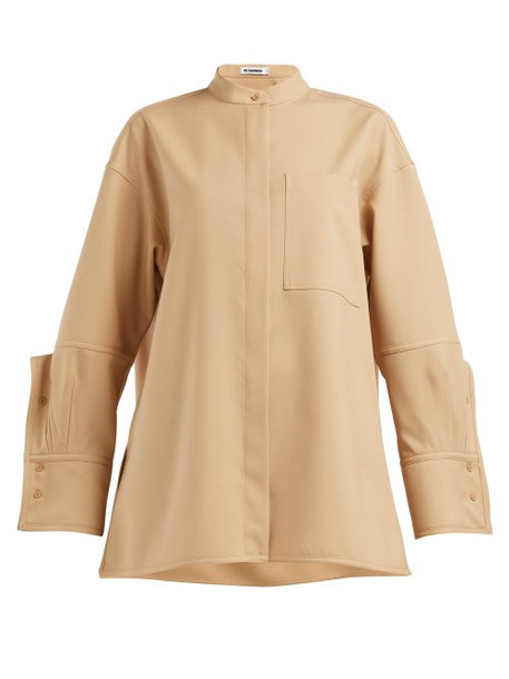 Jil Sander - Gloria Exaggerated Cuff Cotton Blend Poplin Shirt - Womens - Beige