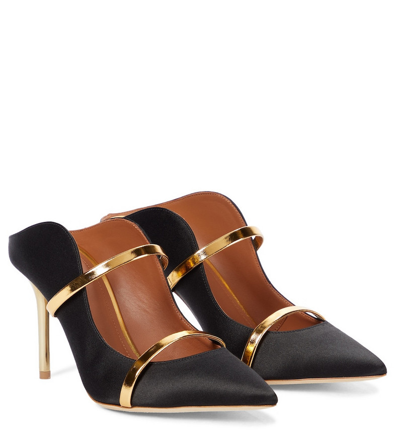Malone Souliers Maureen 85 satin mules in black
