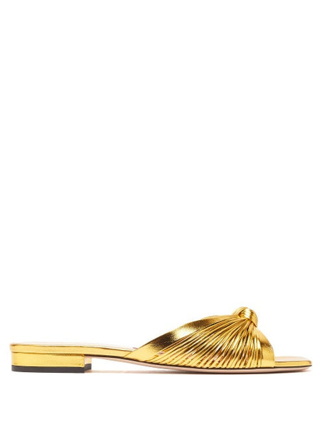 Gucci - Crawford Knotted Leather Slides - Womens - Gold