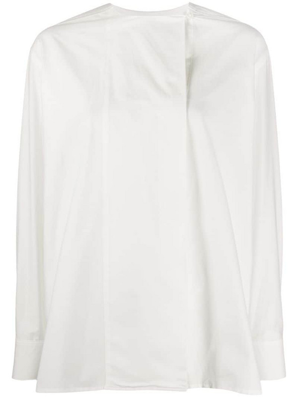 Paul Smith long-sleeved collarless blouse in white