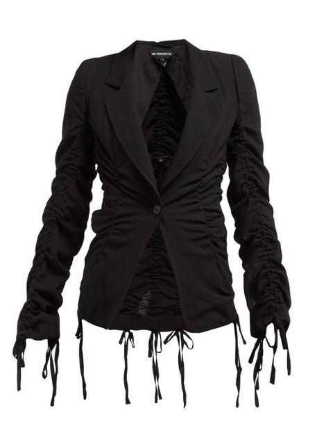 Ann Demeulemeester - Drawstring Seam Tailored Wool Crepe Jacket - Womens - Black