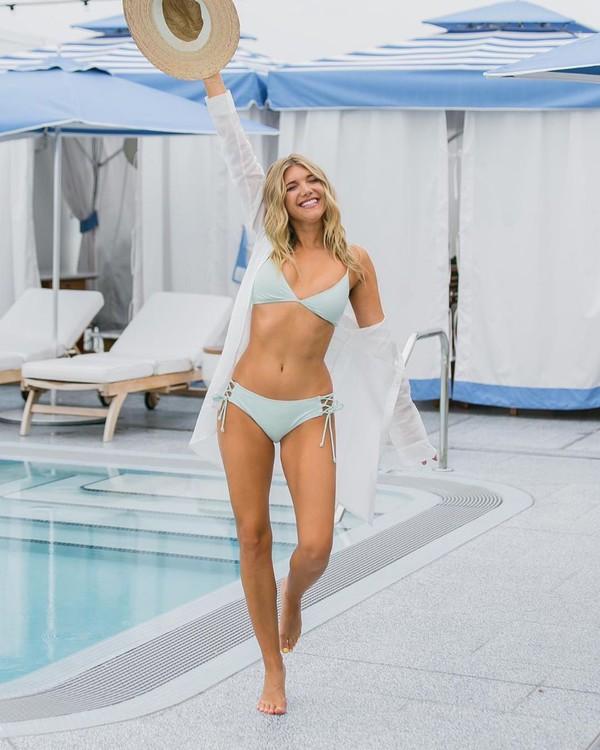swimwear bikini top bikini bottoms swimwear two piece white shirt sun hat