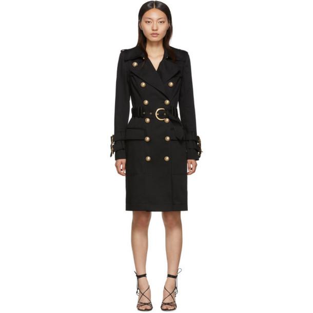 Balmain Black Cotton Gabardine Trench Coat