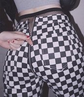 pants,checkered,squares,grunge,zip,black and white,checked trousers,jeans,zipped pants