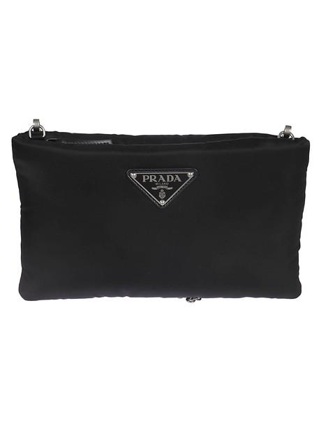 Prada Logo Plaque Clutch in black