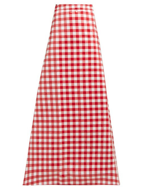 Vetements - Tablecloth Check Coated Cotton Maxi Skirt - Womens - Red Multi
