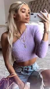 top,off the shoulder,sexy,long sleeves,purple