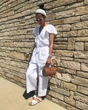jumpsuit,white jumpsuit,sunglasses,shoes,white shoes