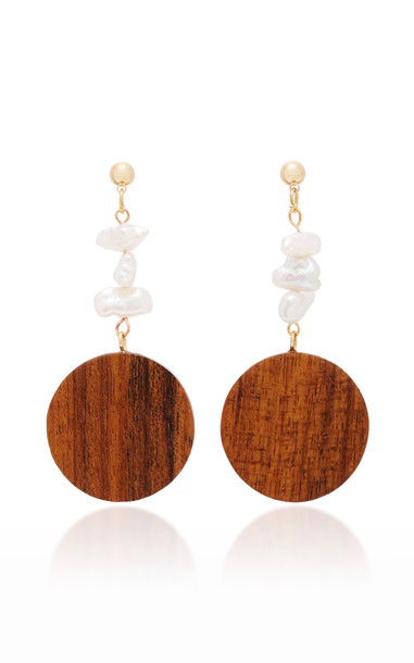 Sophie Monet Mira Gold-Plated, Wood And Pearl Earrings in multi