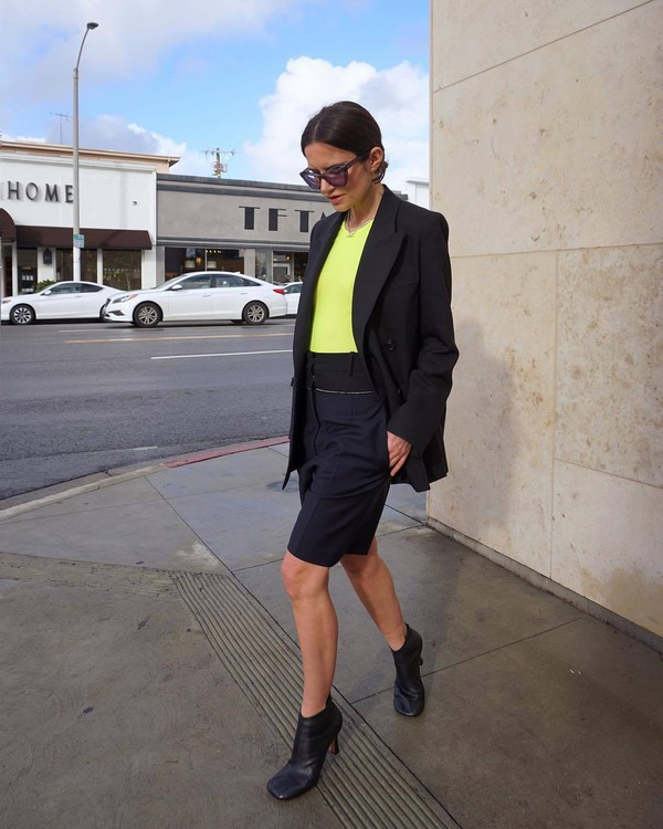 jacket black blazer double breasted acne studios ankle boots heel boots black boots High waisted shorts yellow t-shirt sunglasses