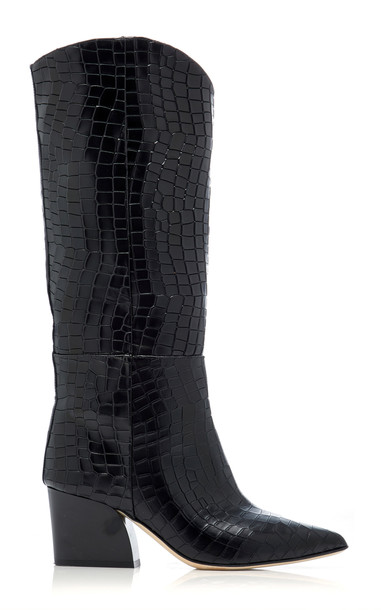 Tibi Logan Croc-Embossed Leather Boots in black