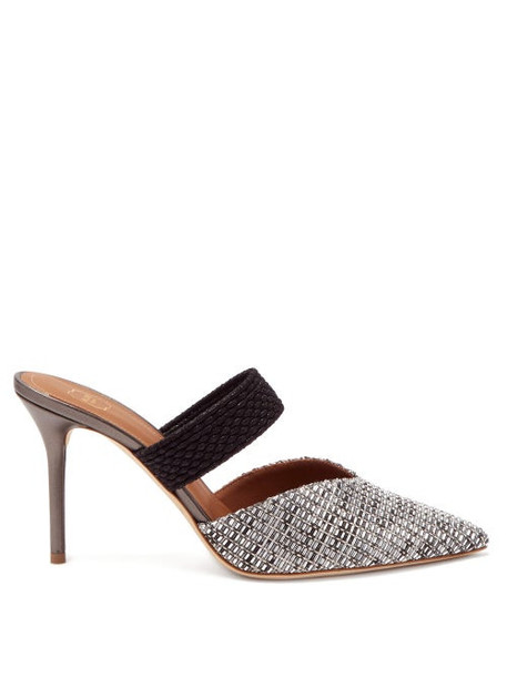 Malone Souliers - Maisie 85 Point-toe Woven Mules - Womens - Silver