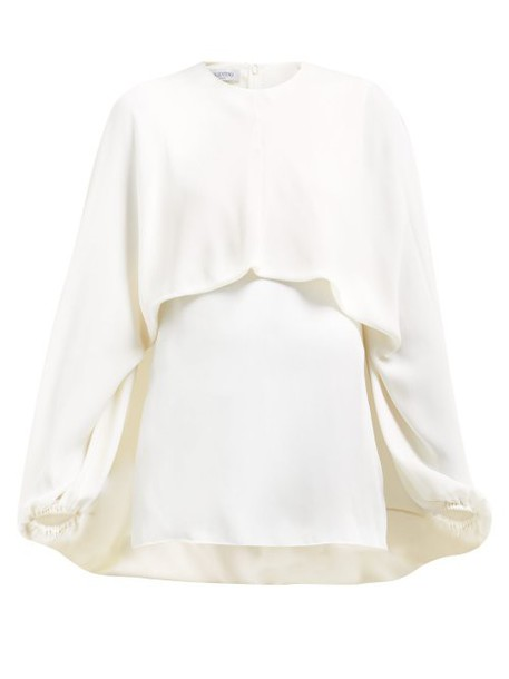 Valentino - Draped Front Silk Blouse - Womens - Ivory