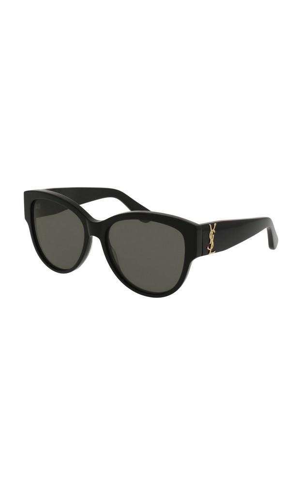 Saint Laurent Oversized Round-Frame Acetate Sunglasses in black