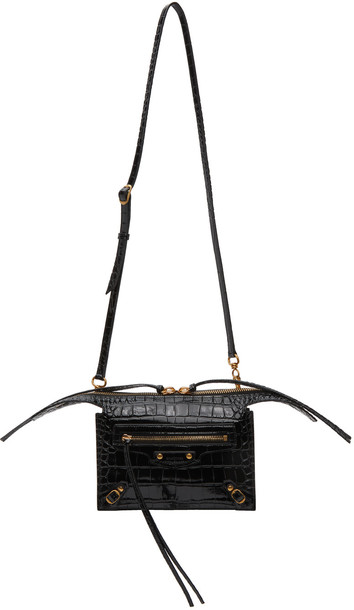 Balenciaga Black Croc Neo Classic City Bag