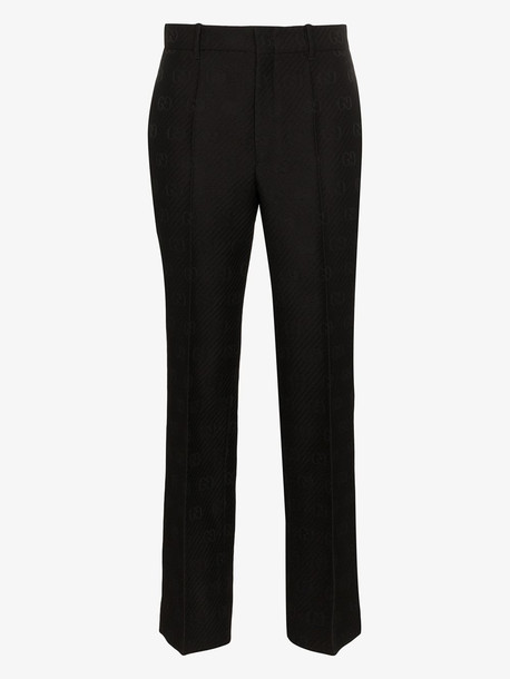 Gucci GG embroidered slim fit trousers in black
