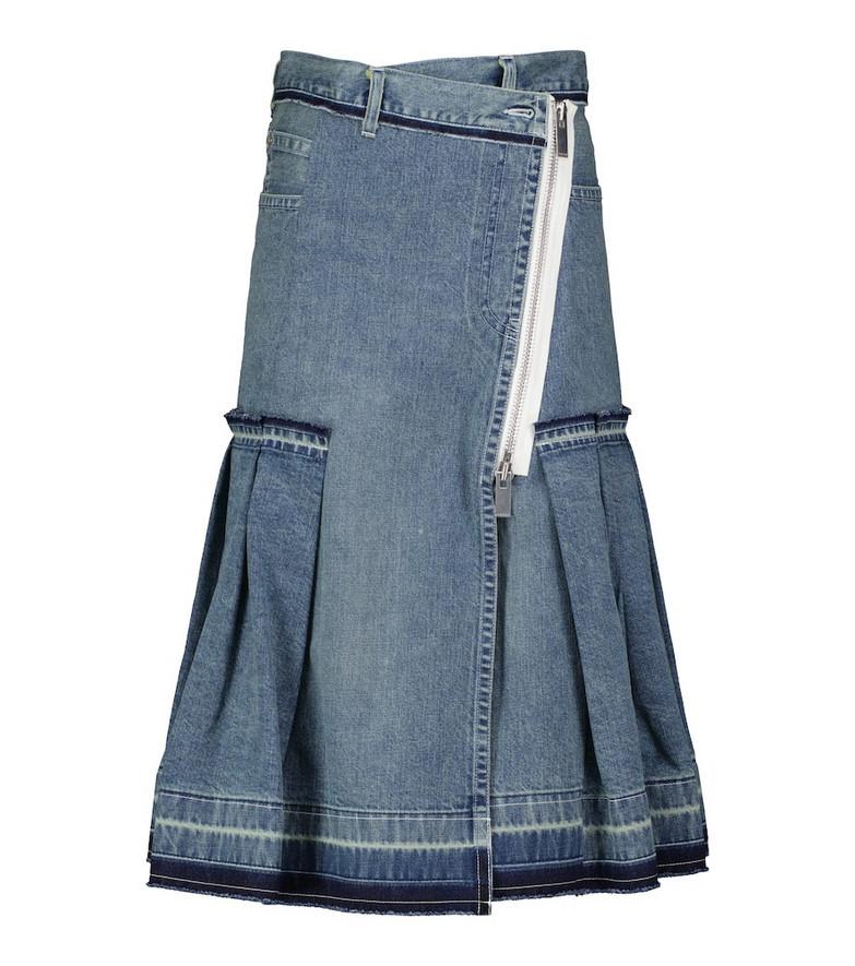 sacai Tiered denim midi skirt in blue