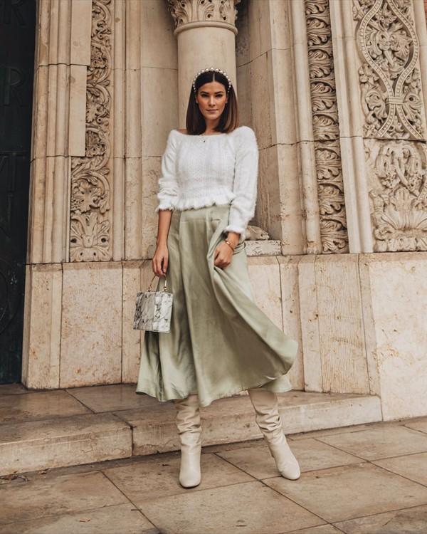 skirt midi skirt knee high boots white boots handbag