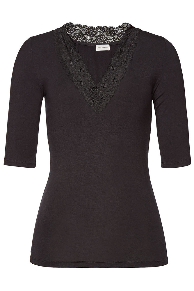 By Malene Birger Emmy T-Shirt with Lace  in black