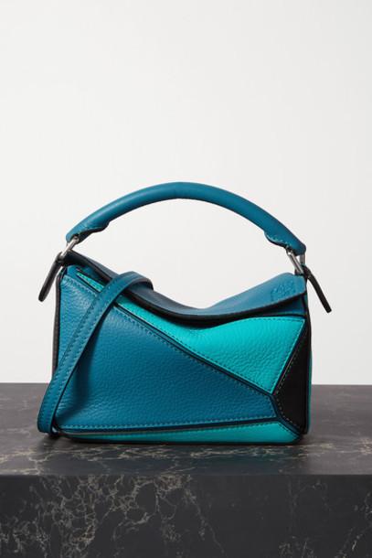 Loewe - Puzzle Mini Color-block Textured-leather Shoulder Bag - Blue