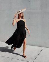 dress,black dress,asymmetrical dress,sandals,jacquemus,hat