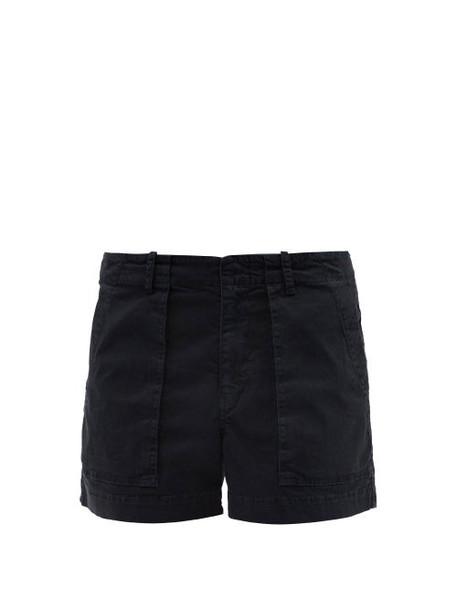 Nili Lotan - Patch-pocket Cotton-blend Twill Shorts - Womens - Navy