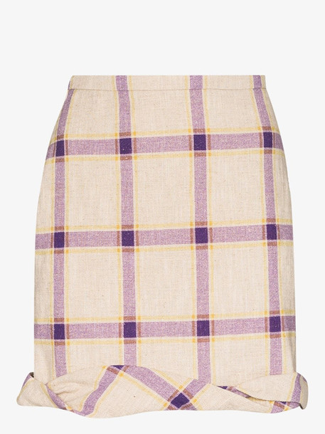 Rejina Pyo Cecilie linen checked skirt in purple