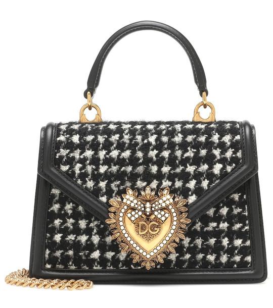 Dolce & Gabbana Devotion Small tweed shoulder bag in grey