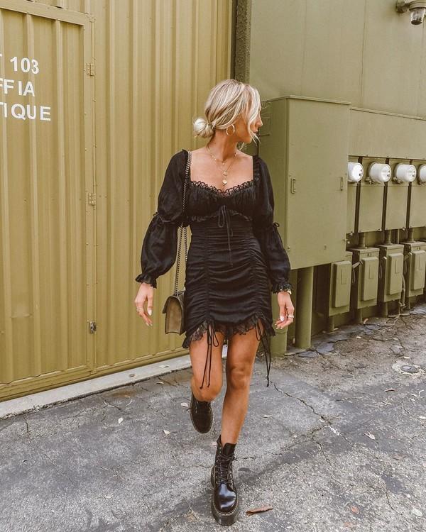 dress black dress mini dress long sleeve dress black boots bag