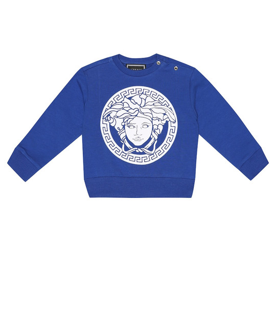 Versace Kids Baby Medusa stretch-cotton sweater in blue