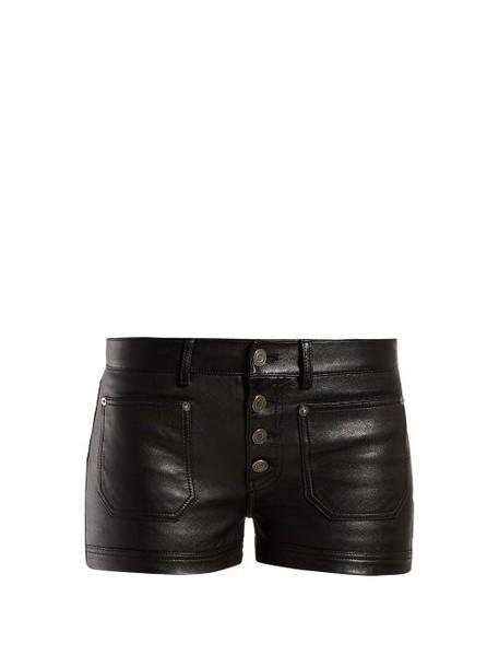 Saint Laurent - Button Front Leather Shorts - Womens - Black