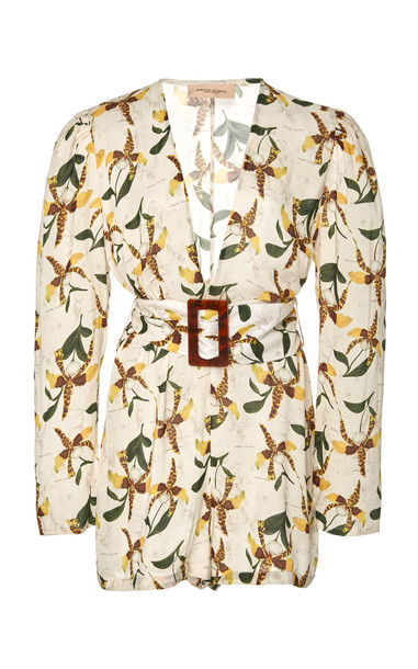 Adriana Degreas Belted Orchid-Print Georgette Playsuit Size: S