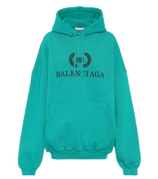Balenciaga Oversized cotton jersey hoodie in green