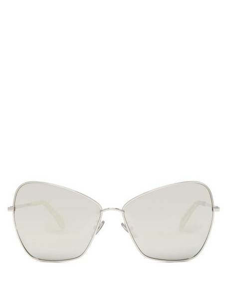 Celine Eyewear - Oversized Mirrored Butterfly Metal Sunglasses - Womens - Silver