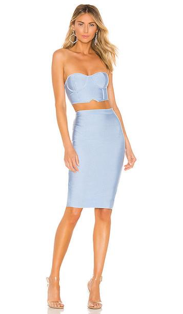superdown Ari Bandeau Bandage Skirt Set in Blue