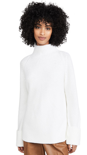 Vince Mix Stitch Funnel Sweater in cream