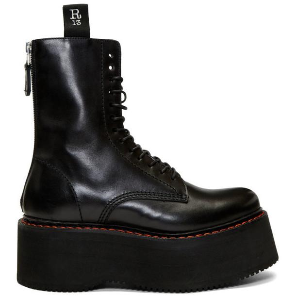 R13 Black Double Stack Platform Lace-Up Boots